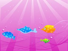 Free Fish-sun Rays Falling Into Sea Royalty Free Stock Image - 5452486