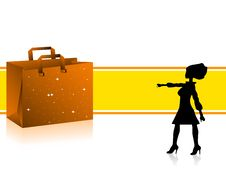 Free Lady Near Bag Royalty Free Stock Images - 5452549