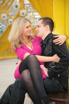 Free Blonde Sits On Boy`s Knees On Footbridge Royalty Free Stock Image - 5452646