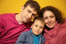 Free Family On Yellow Background Royalty Free Stock Photos - 5453118