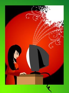 Free Lady Working On Computer Royalty Free Stock Images - 5453319