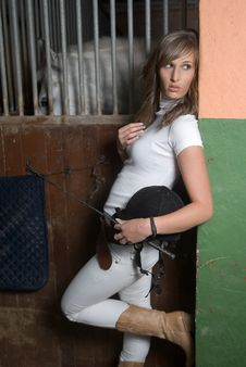 Woman In An Stable With Horse Royalty Free Stock Photo