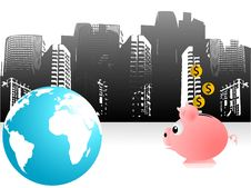 Free Piggy Bank And Earth Royalty Free Stock Photo - 5453835