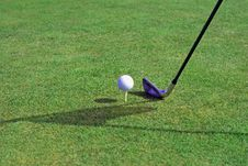 Free Golfball In Front Of The Hole Stock Photography - 5453842