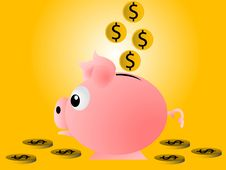 Free Piggy Bank And Coins Royalty Free Stock Photo - 5453995