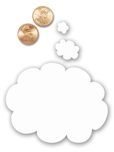 Free Two US Pennies With Thought Balloon Royalty Free Stock Image - 5455216