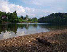 Free Lake Panorama With Log Stock Photo - 5455240