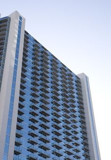 Blue Tower With Balconies Royalty Free Stock Photography