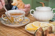 Free Senior Woman Drinks Tea Royalty Free Stock Photos - 5457008