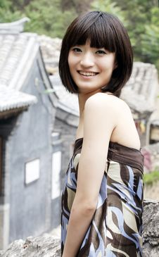 Free A Chinese Girl In Ancient Villages Royalty Free Stock Image - 5457066