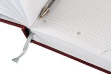 Free Opened Diary Planer With Pen Royalty Free Stock Image - 5457506