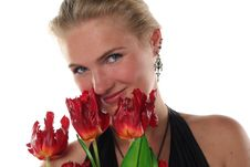 Free Woman In Dress With Tulips Stock Photos - 5457653