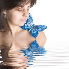 Free Beautiful Young Woman With Blue Butterfly Royalty Free Stock Image - 5457936