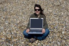Free Young Woman With Laptop Computer In Beach Stock Photos - 5457993