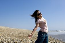 Free Young Joyful Woman In Beach During Hot Summer Day Stock Image - 5458021