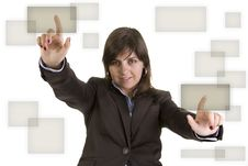 Free Businesswoman Pushing Two Buttons Royalty Free Stock Photo - 5458035