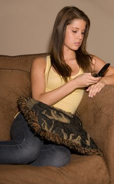 Free Beautiful Teenage Lady On Her Phone. Royalty Free Stock Photography - 5458237