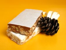 Nougat With A Pine Cone Stock Photos