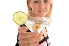 Girl Reaching To You Glass With Martini Cocktail Royalty Free Stock Photography