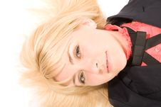 Free Young Blond Woman Laying On The White Floor Royalty Free Stock Photography - 5459247