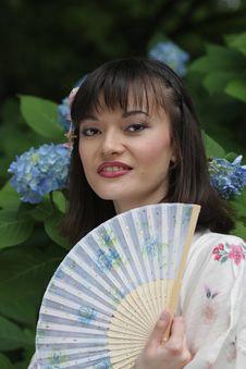Free Girl Portrait, Yukata Festival. Hiroshima, Japan. Stock Images - 5459924