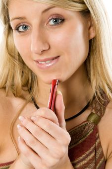 Free Beautiful Blond Woman On Phone Stock Images - 5459944