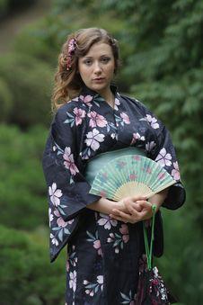 Free Girl Portrait, Yukata Festival. Hiroshima, Japan. Stock Image - 5459961