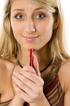Free Beautiful Blond Woman On Phone Stock Image - 5459981