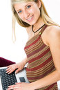Free Beautiful Girl With Blonde Hair Using Laptop Stock Photos - 5460453