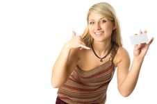 Girl Holding A White Card. Royalty Free Stock Photos