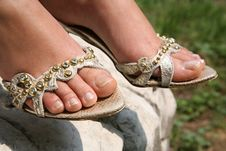 Free Silver Sandals Stock Image - 5461201