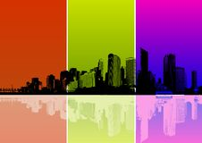 City With Colored Strips. Vector Royalty Free Stock Photos