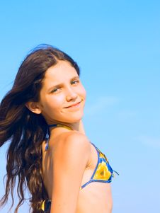 Free Beauty Girl On Sky Background Royalty Free Stock Images - 5462419