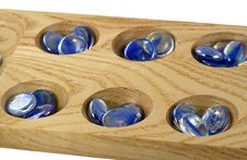 Free Wooden Mancala Game With Blue Stones Royalty Free Stock Photography - 5463007