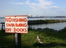 Free No Swimming Or Fishing Near Industry Stock Photography - 5463222