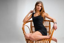 Free Slim Girl On Vintage Chair Stock Photo - 5464240