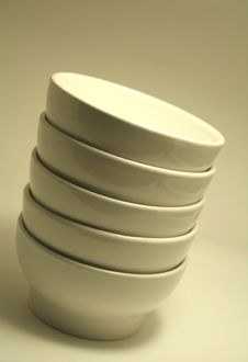 Stacked White Bowls Stock Photo