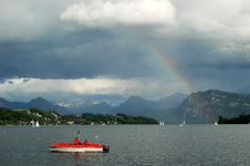 Rainbow Above Lake Luzern Royalty Free Stock Photos