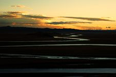 Free Yellow River On The Meadows When Sunset Stock Photo - 5464990