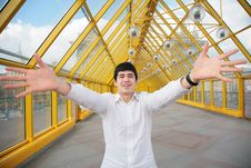 Free Young Asian Man Shows Salutatory Gesture Royalty Free Stock Photo - 5465385