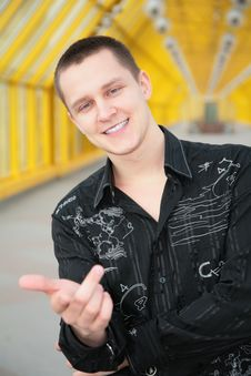Free Smiling Boy In Black Shirt Makes Gesture Stock Photos - 5465593