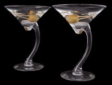 Free Martini With Olive On Black Royalty Free Stock Photos - 5466168