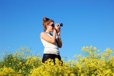Free Beautiful Girl With Camera Stock Images - 5466544