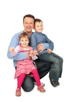 Free Father With Children Sit On Laps Stock Image - 5467181