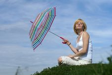 Young Charming Girl With Umbrella Stock Photography
