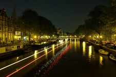 Free Canals In Amsterdam At Night Stock Images - 5468834