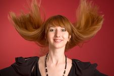 Free Beautiful Red-haired Girl Shaking Her Hair Stock Photos - 5468853