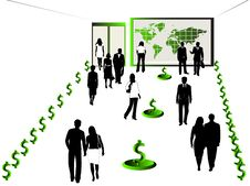 Free Business People, Map And Dollar Stock Photo - 5469080