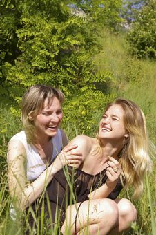 Free Young Women At A Wood Stock Image - 5469101