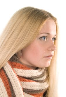Woman In A Scarf Stock Photos